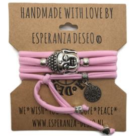 Wikkelarmband Buddha - baby roze