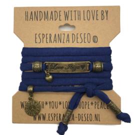 Caribbean blauw armband met de tekst: love Ibiza - Magic Island