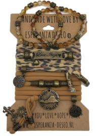 Set Love Ibiza -  Es Vedra coin - panterprint met brick oranje
