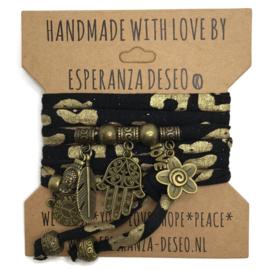 """Zwart met gouden armband met brons kleurige bedels thema """"Hamsa"""""""