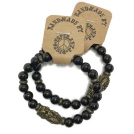 Natuursteen armbandje zwarte agaat -  maat  m