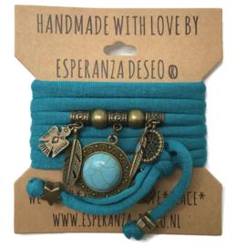 "Zee blauwe armband met brons kleurige bedels thema ""Indian Turquoise"""