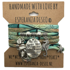 "Turquoise en mint print armband met zilverkleurige bedels thema ""May you always have ...."""