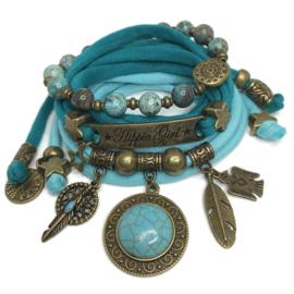 Set Hippie Girl- Turquoise stone - licht en donker turquoise groen