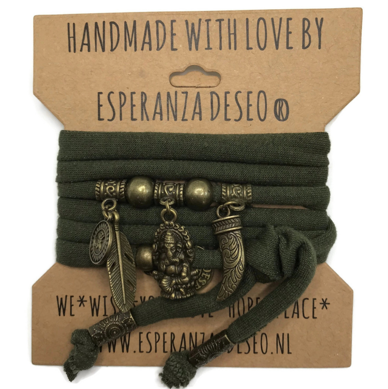 "Donker army groene armband met brons kleurige bedels thema ""Ganesha"""
