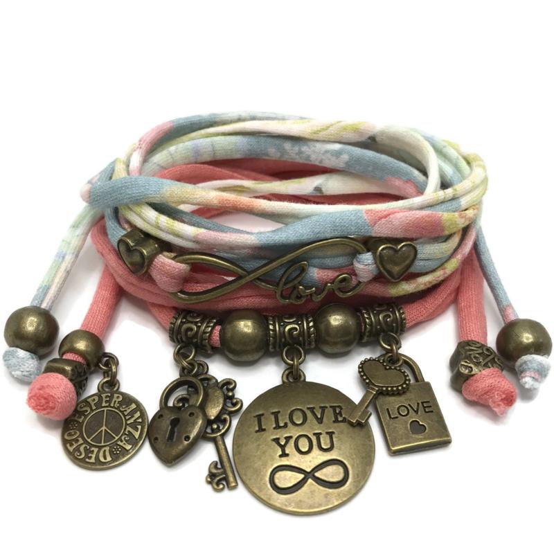 Set Love Infinity en plaat armband Infinity - zalm en print