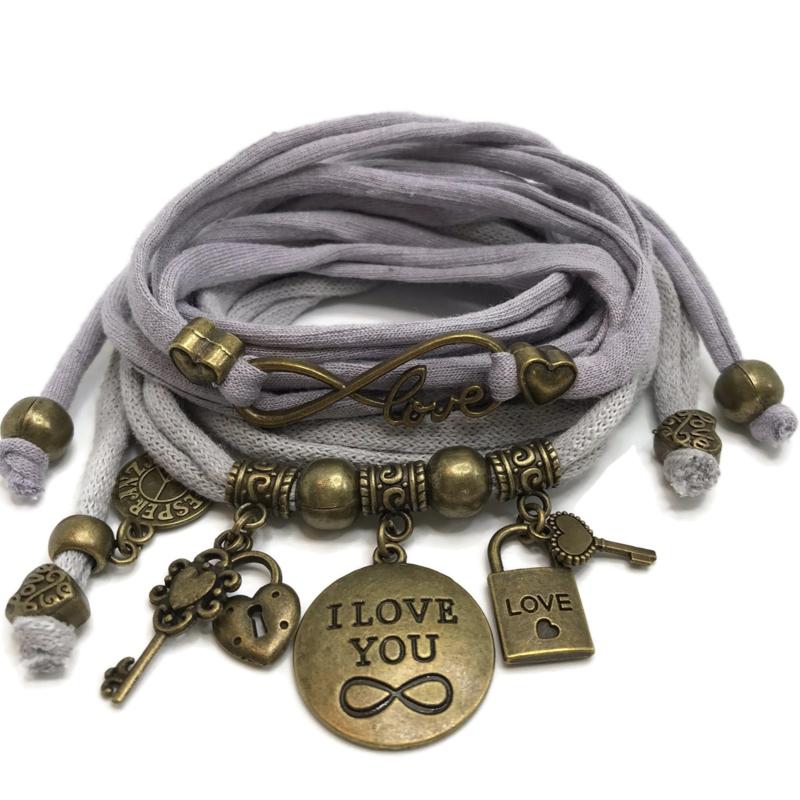 Set Love Infinity en plaat armband Infinity - licht grijs