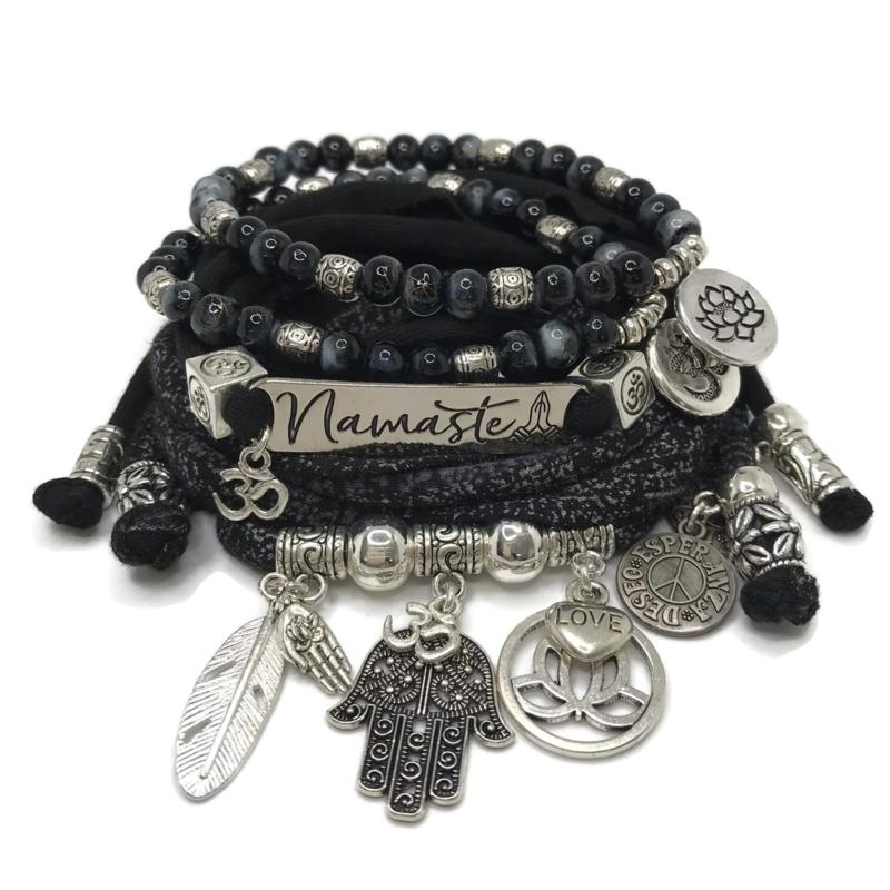 Set Namaste - Hamsa - zwart en grijs