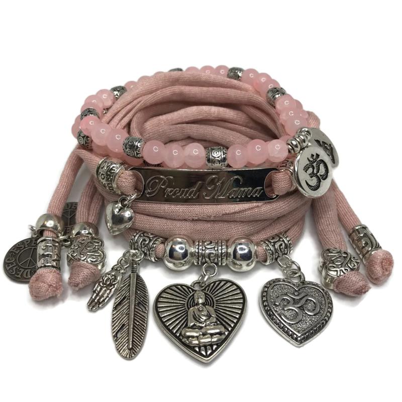 Set Proud Mama - Buddha heart - vintage pink