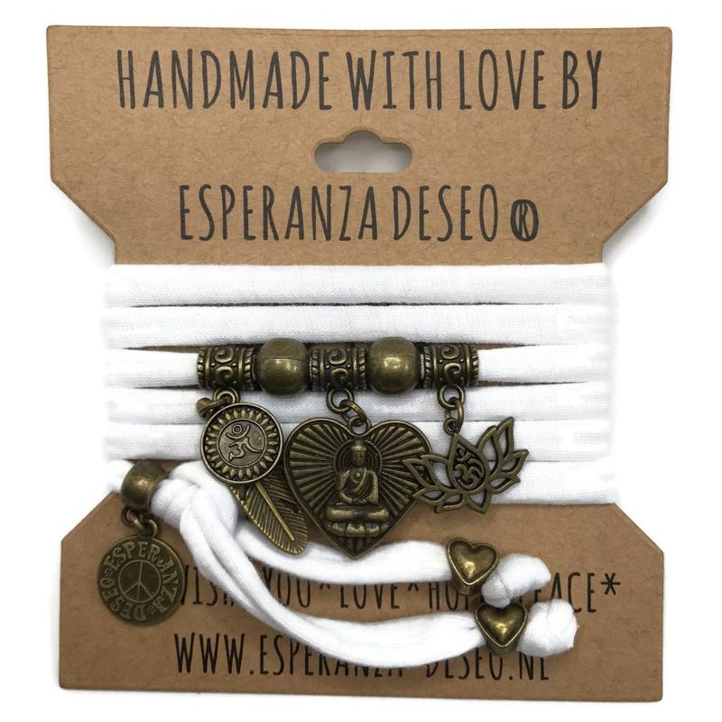 "Witte armband met brons kleurige bedels thema ""Buddha heart"""