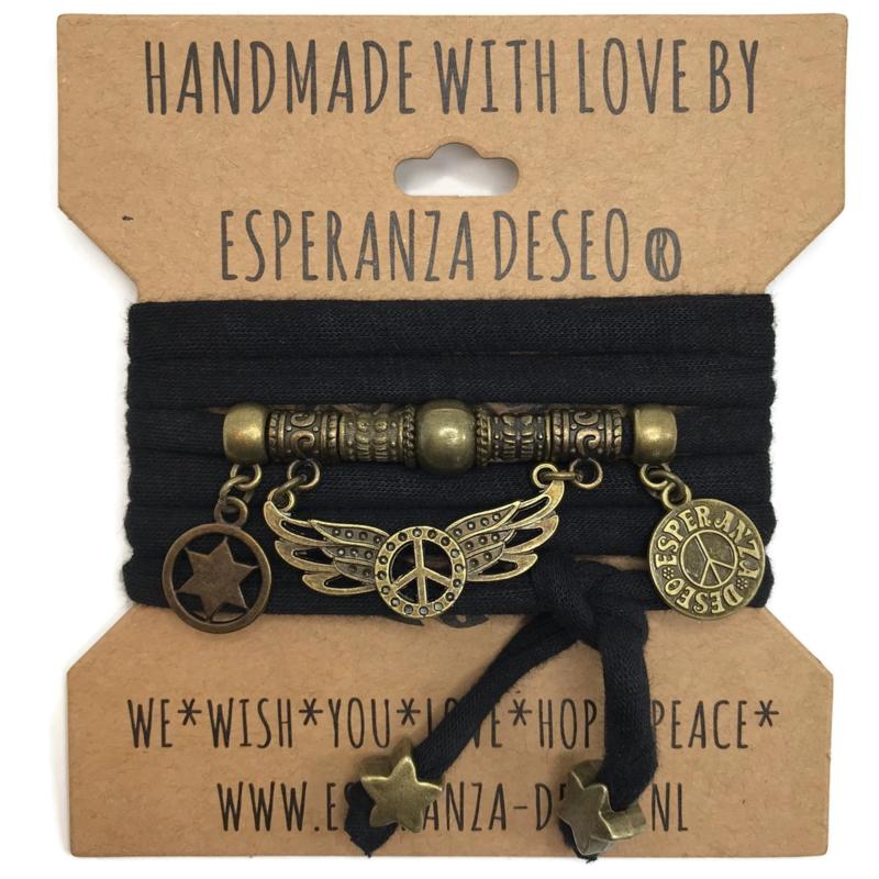 """Zwarte armband met brons kleurige bedels thema """"Peace wings"""""""