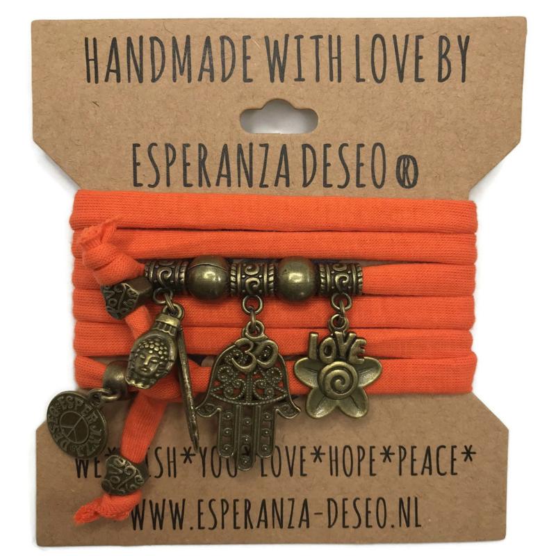 """Hippie oranje armband met brons kleurige bedels thema """"Hamsa"""""""