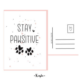 Stay pawsitive postkaartje