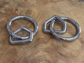 O-ring met triangel verchroomd messing