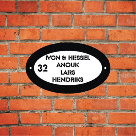 25 x 15 cm ovaal plexiglas naambord