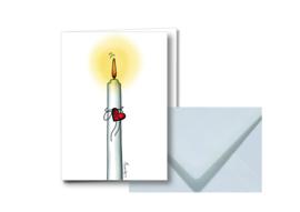 Witte kaars || Dubbele kaart met envelop