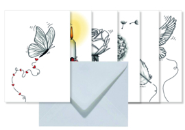Setje van 6 dubbele kaarten met envelop || Thema verlies/steun/geluk