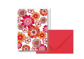 Diverse bloemen allover || Dubbele kaart met envelop
