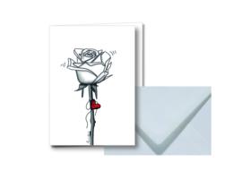 Witte roos || Dubbele kaart met envelop