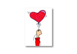 Ik geef jou een harten ballon || Ansichtkaart