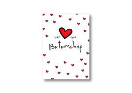 Van hartjes beterschap || Ansichtkaart