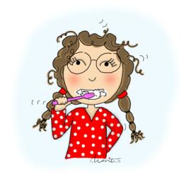Een van de 8 tandenpoetsende portretjes