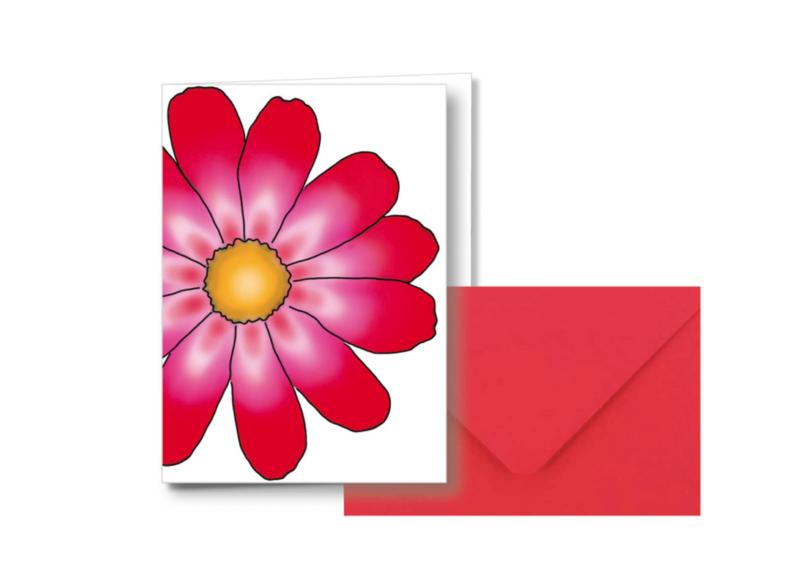 1 Bloem    Dubbele kaart met envelop