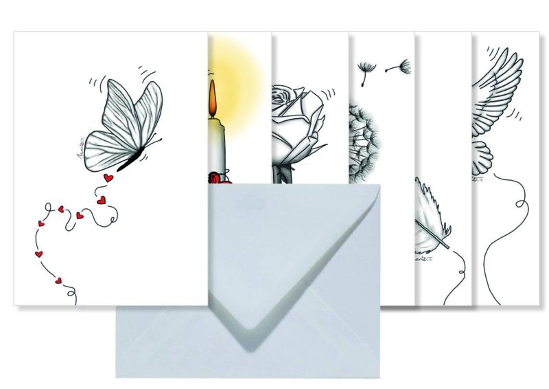 Setje van 6 dubbele kaarten met envelop    Thema verlies/steun/geluk