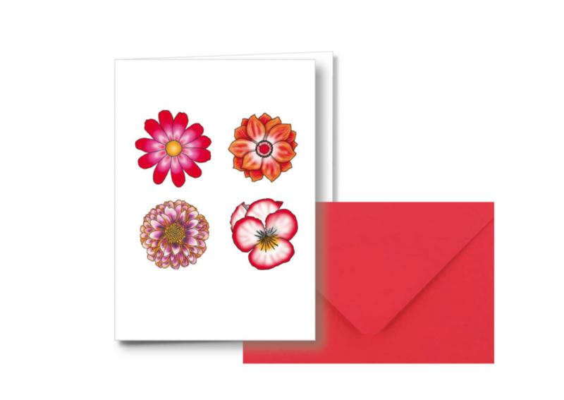 4 bloemen    Dubbele kaart met envelop
