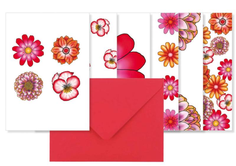 Setje van 6 dubbele kaarten met envelop || Thema bloemen