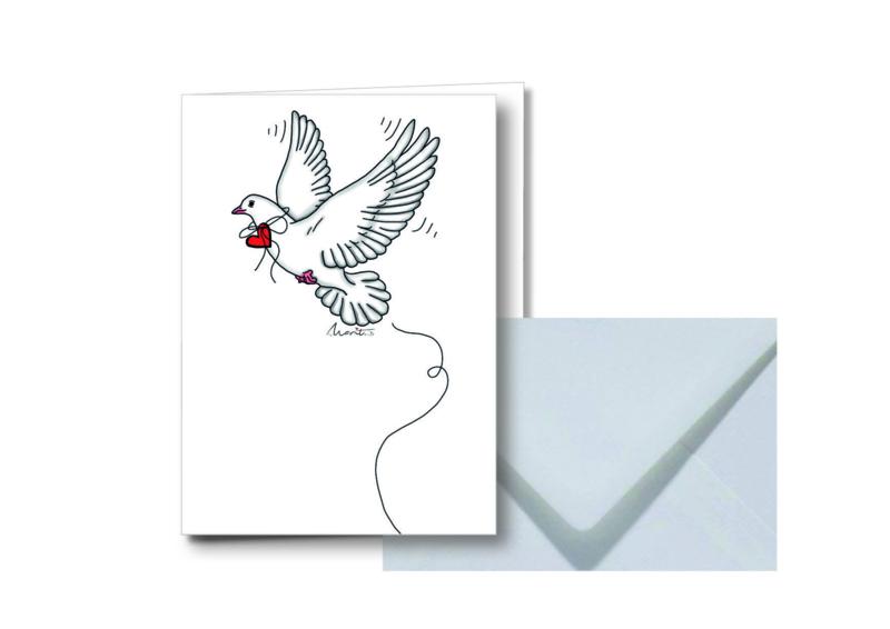Witte duif || Dubbele kaart met envelop