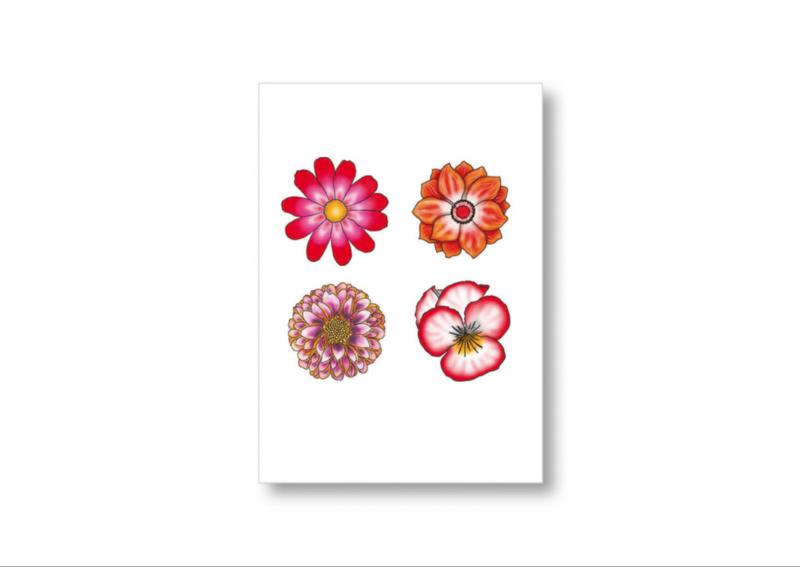 4 Bloemen || Ansichtkaart