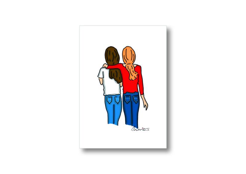 Illustratie best friends || Ansichtkaart