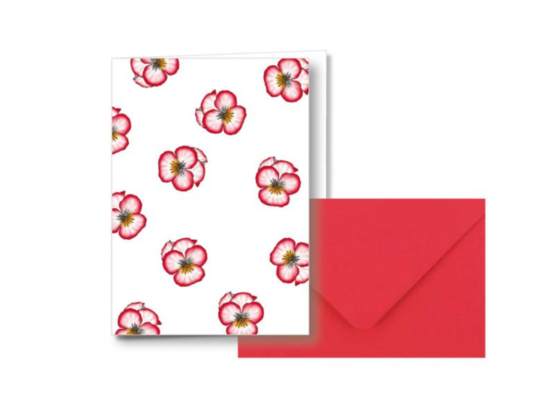 Bloemetjes allover    Dubbele kaart met envelop