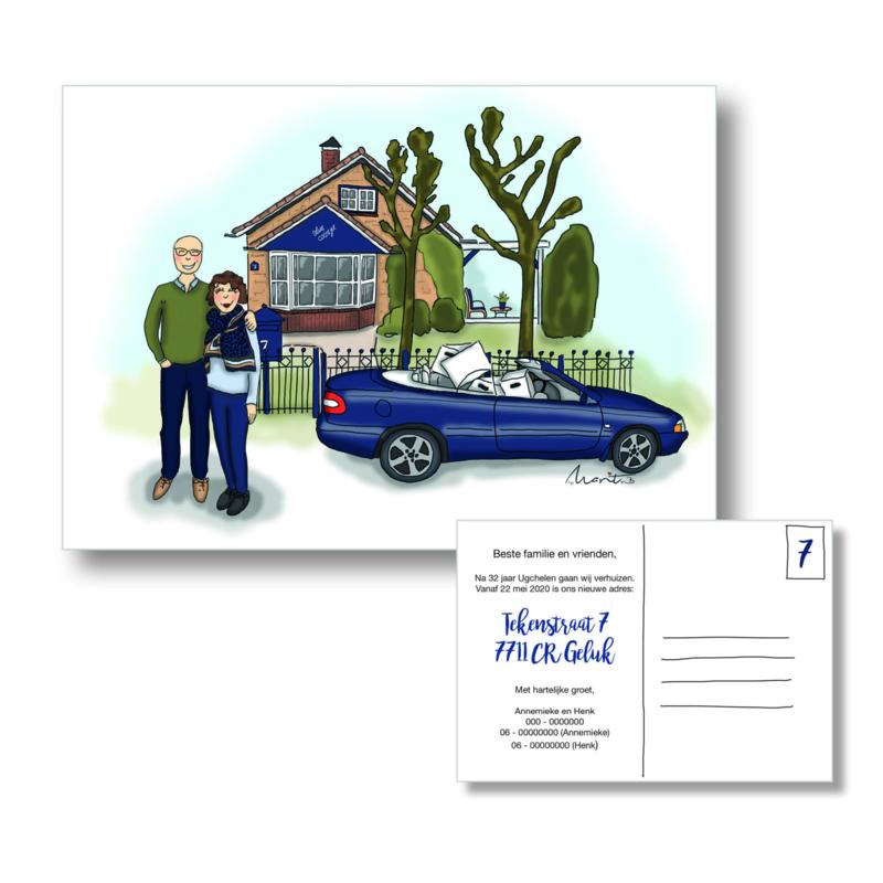 Illustratie voor Verhuiskaart, trouwkaart, uitnodiging of geboortekaartje