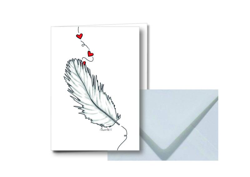 Witte veer || Dubbele kaart met envelop