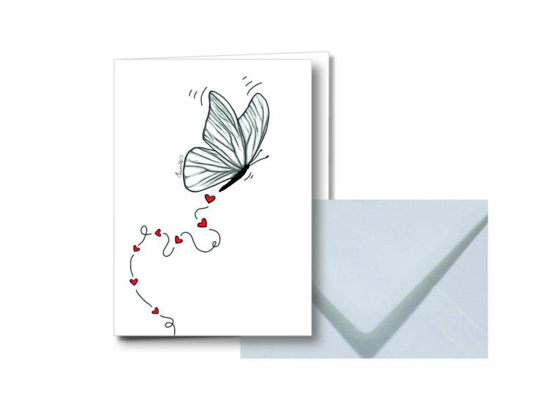 Witte vlinder    Dubbele kaart met envelop