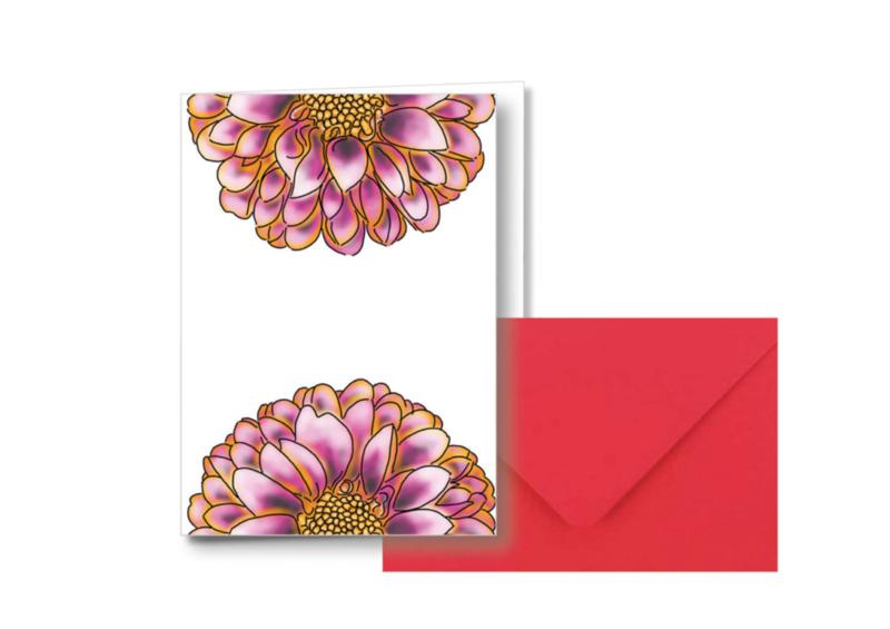 2 Halve bloemen    Dubbele kaart met envelop