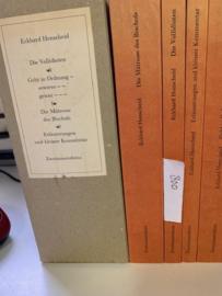 Eckhard Henscheid - 4 Bände im Schuber    Die Vollidioten   Geht in Ordnung - sowieso - genau ---   Die Mätresse des Bischofs    Erläuterungen und kleiner Kommentar Taschenbuch   1986  