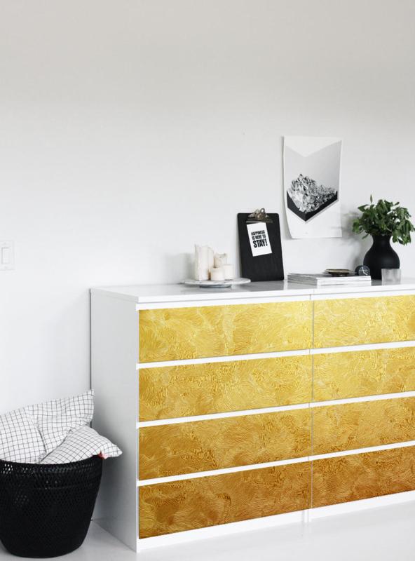 Decoratie Sticker Ikea Malm Drawer Gold