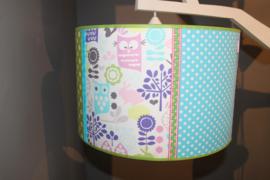 Hanglamp uiltjes groen, blauw en roze