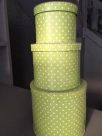 Ronde stapelboxen polkadots groen
