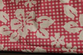 Lakentje ruit bloem roze