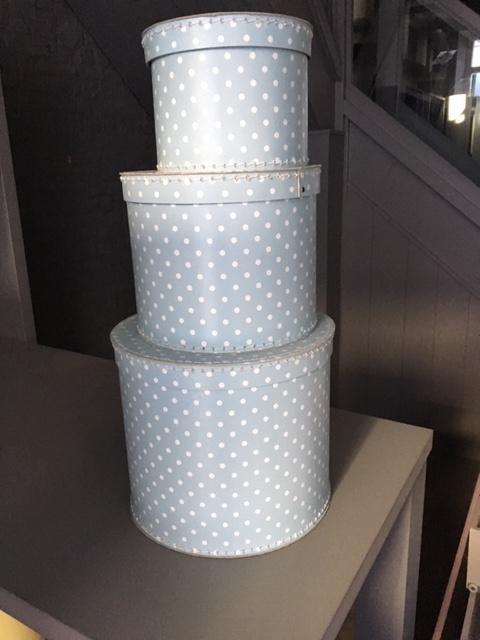 Ronde stapelboxen lichtblauw polkadots