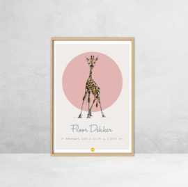 Geboorteposter - Giraf