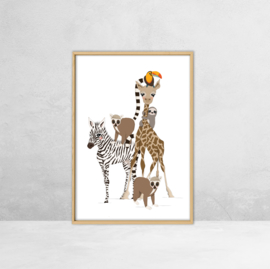 Poster Jungle dieren -  Illustratie Stapel Dieren