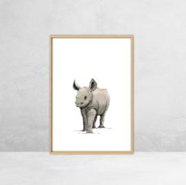 Poster Afrikaanse Dieren -  Illustratie Neushoorn