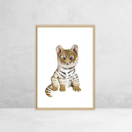 Poster Jungle dieren -  Illustratie Tijger