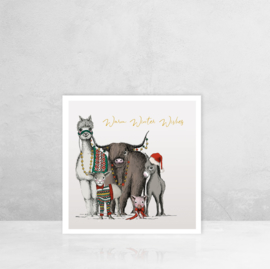 Wenskaart Kerst - boerderij dieren