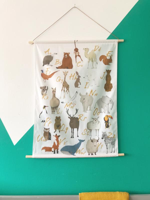 Textielposter ABC - Dieren alfabet
